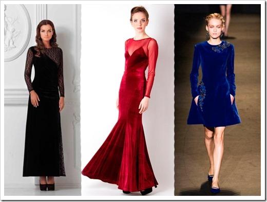 Модные решения бархатных платьев